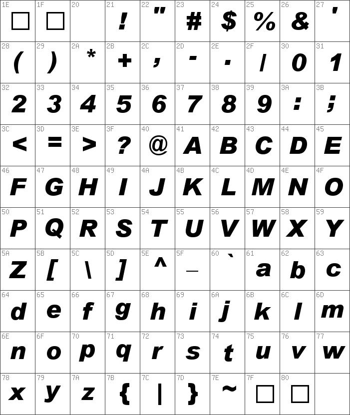 Arial-BlackItalic font